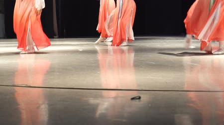 entusiasmo : Closeup of female legs of dancers moving on dancing floor of stage. Vídeos