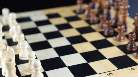cavaleiro : Close up of chess pieces on the board. Close-up. Shot Of Chess Board And Figures. Vídeos