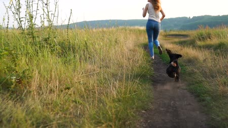 fél : Dachshund dog catches up with a girl running along the road