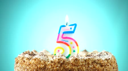 пять : Birthday cake with a burning birthday candle. Number 5. Background changes color Стоковые видеозаписи