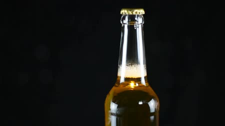 condensa : Closed beer bottle rotating on a black background. Neck of a bottle of beer is covered with a metal cap Filmati Stock