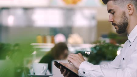 aplicativo : Handsome man in shirt working in cafe Stock Footage