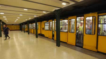 July 13, 2017. Metro leaving a station of Metro line 1 in Budapest, the oldest metro line in continental Europe. Stock Footage