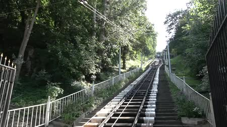 Ukraine, Kiev August 25, 2018. City public rail ecology history transport Kiev funicular in the summer. The Legacy of the USSR.