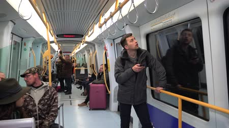 February 18, 2019. Denmark, Copenhagen. Subway metro lot of people passengers ride. Public passenger urban municipal transport in Europe. Stock Footage
