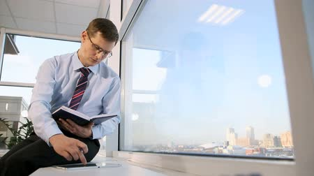 businessman in his office for intellectual work Stock Footage