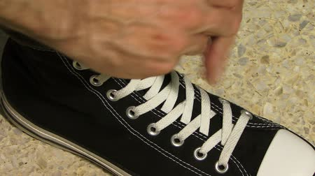 tying : Shoelace Stock Footage