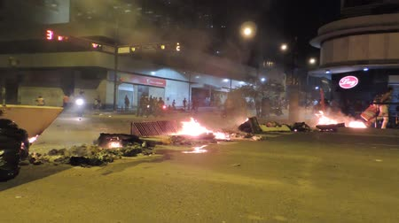 totalitarianism : Barricade fire in the city