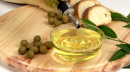 olive colored : Appetizer of olive oil and bread