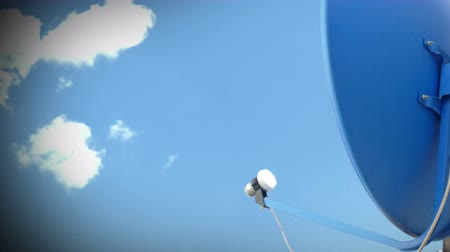 parabola antenna : Satellite TV Antenna with clouds timelapse. Cable TV antenna