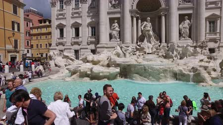 europe population : Rome, May 24, 2016: Tourists Visit People Crowd Iconic Baroque Trevi Fountain Fontana Rome Italy