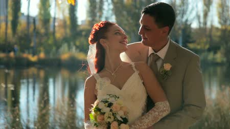 redhead suit : Bride and Groom Kissing
