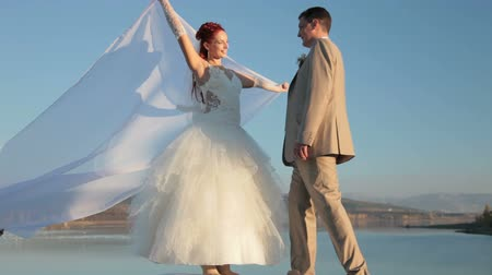 redhead suit : Newly married couple against the blue sky Stock Footage