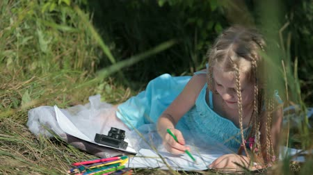 çizmek : Child drawing with colored pencils on the nature Stok Video