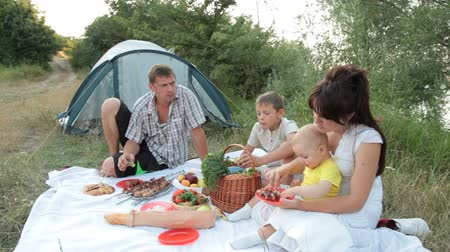 пикник : Family summer camping vacation