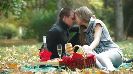 két : Young loving couple having a picnic