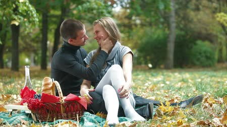 пикник : Couple enjoying a warm autumn day on a picnic