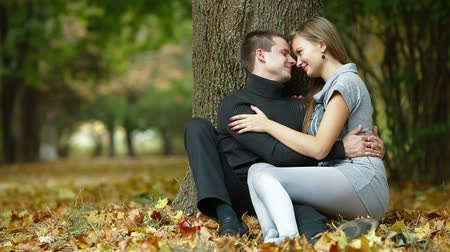 romantic couple : Young couple in the autumn park