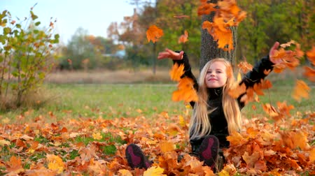 autumn : Child in autumn park Stock Footage