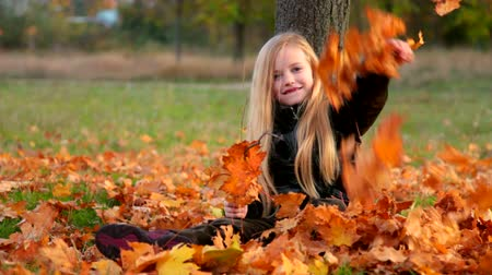 small park : Child in autumn park Stock Footage