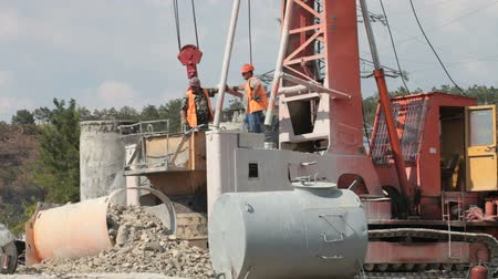 Bored piling machine in operation at construction site  Wideo