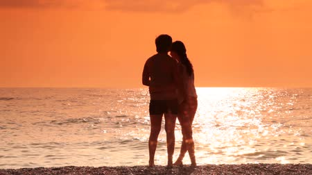 Couple embracing on the beach at sunset