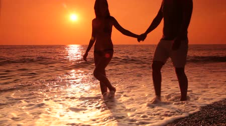 sylwetka : Young couple walking along  beach at sunset