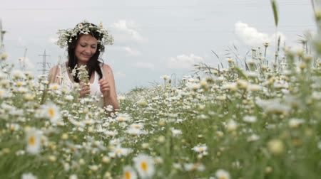 smiling young woman sitting among the daisies in the spring lawn looking at the camera Wideo