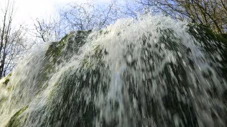 Splashing waterfall Silver Jets in the mountains of Crimea Wideo