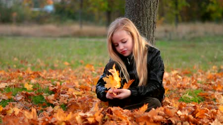 autumn : Child playing with yellow fallen leaves sitting under tree in autumn park