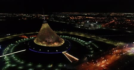 astana : Astana, Kazakhstan - October 8, 2018: Video of the the city of Almaty, Kazakhstan. Aerial night.