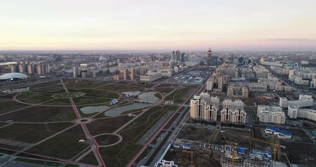 потолок : Astana, Kazakhstan - October 8, 2018: Aerial cityscape Panoramic view of Almaty city, Kazakhstan. Стоковые видеозаписи
