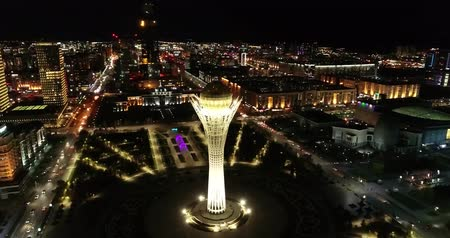 new town : Astana, Kazakhstan - October 8, 2018: Video of the the city of Almaty, Kazakhstan. Aerial night.
