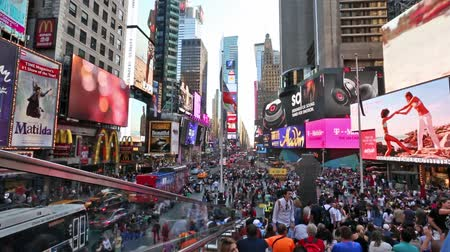 old times : New york, New york,Usa. September 2th, 2016: Pedestrian malls full of crowds on a summer Saturday afternoon in Times Square September 4, 2010 in New York City. Stock Footage
