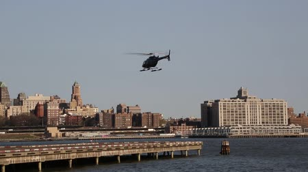 New york, New york,Usa. September 2th, 2016: NYPD Bell 429 helicopter in sky providing security during New York City Marathon start in Brooklyn