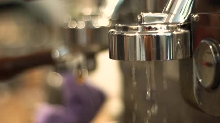 latte macchiato : Closeup of Coffe Machine wit Boiled Water Stock Footage