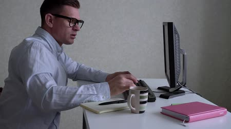 his : Businessman Working With Computer At Office Stock Footage