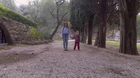 bochecha : Mom And Son In Casual Clothes Walk In Park Stock Footage
