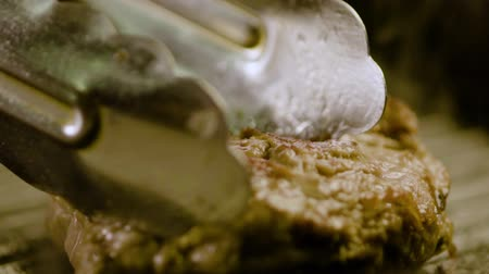 lombo de vaca : Cook Pinches A Piece Of Delicious Meat Steak Stock Footage