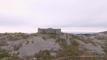 budva : Aerial View Of Ancient Fortress Kosmach Near Budva, Montenegro Stock Footage