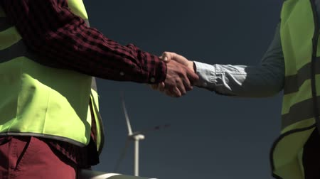 approving : Architect And The Engineer Shake Hands Stock Footage