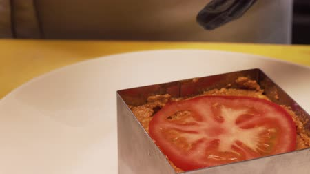 Chef Serves Vegetable Caviar With Slice Of Tomato Stock Footage