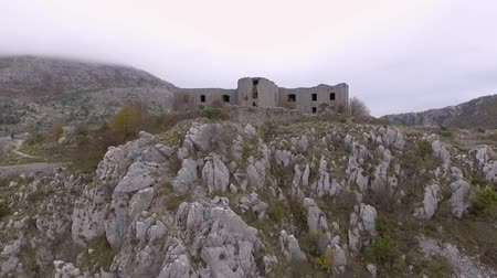 Aerial View Of Ancient Fortress Kosmach Near Budva, Montenegro Stock Footage