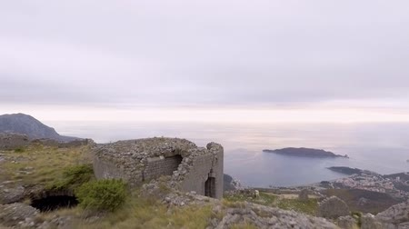 balkan : Aerial View - Ancient European Fortress Kosmach in Budva Stock Footage