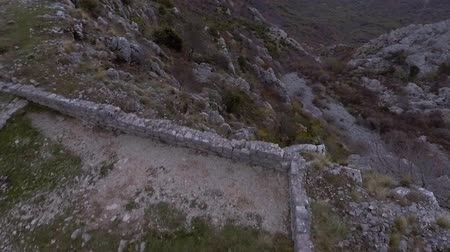 Aerial View - Ancient European Fortress Kosmach in Budva Stock Footage