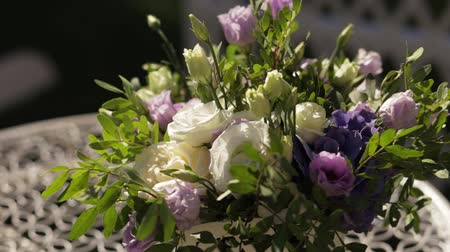 Beautiful Bouquet Of White And Purple Flowers