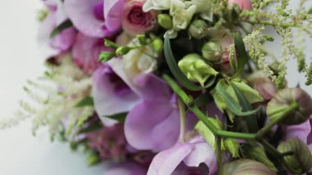 Beautiful Wedding Bouquet Of Lilac Pink Flowers Stock Footage