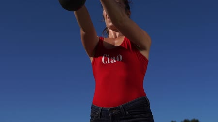 squats : Fitness Girl Doing Lunges Exercise During Outdoor Training Stock Footage