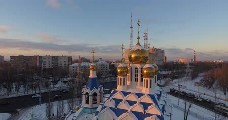 регионы : Aerial Shooting - A Beautiful Russian Orthodox Church