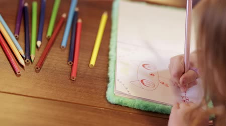 bookshop : Hands Of Mother And Girl Draw Together With Colored Pencils
